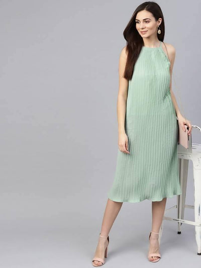 Women's Knife Pleated Raglan Dress - MANERAA