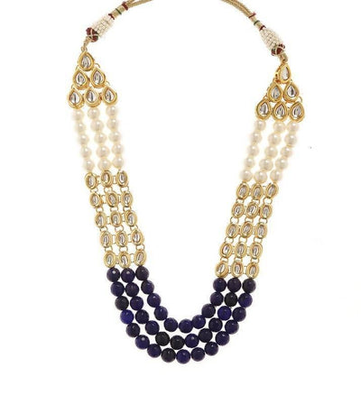 Kundan Necklace And Earring Set Artificial Fashion Jewellery For Women Blue Color - MANERAA