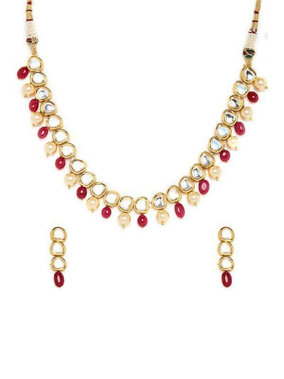 Kundan Necklace And Earring Set Artificial Fashion Jewellery For Women Gold Color - MANERAA