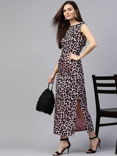 Women's Long Animal Flocking Dress - MANERAA