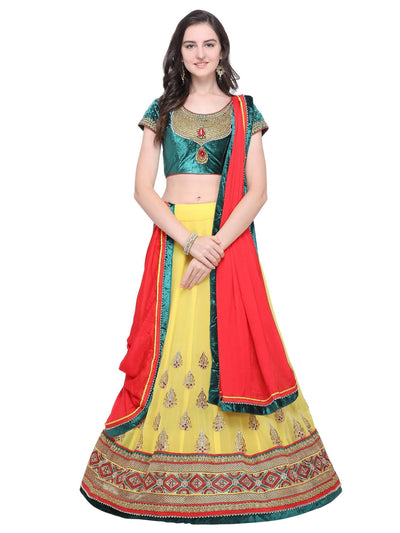 Yellow Georgette Embroidered Lehenga Choli - MANERAA