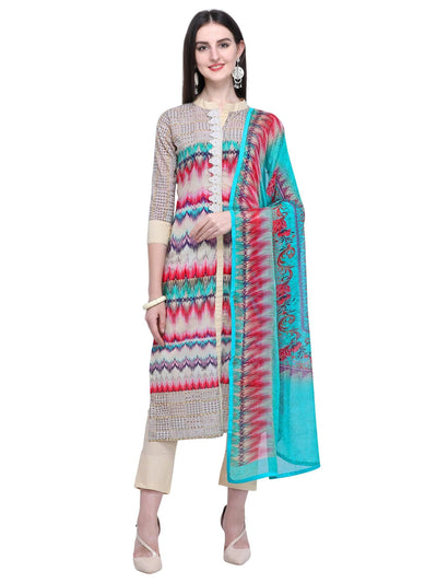 Stylee Lifestyle Cream Cotton Printed Dress Material - MANERAA