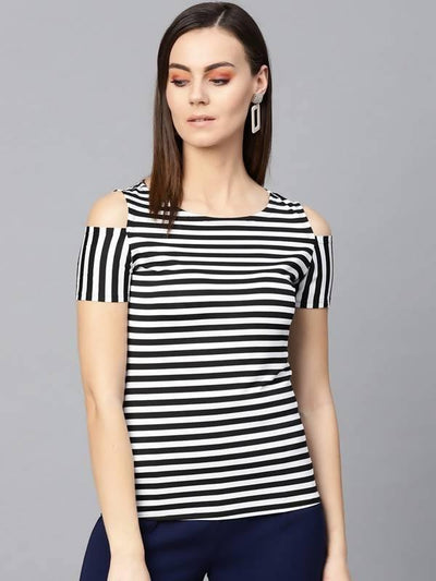 Women's Women's Thin Stripe Shoulder Cut Top - MANERAA