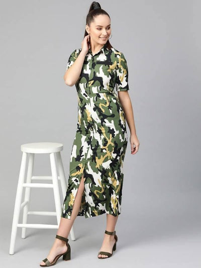 Women's Women's Military Shirt Maxi Dress - MANERAA