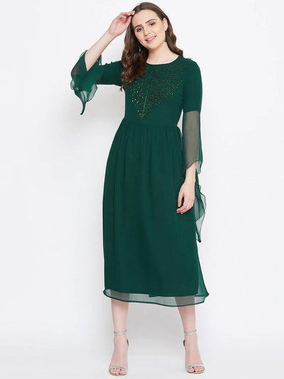 Bitterlime Women Green Embellished Fit and Flare Dress - MANERAA