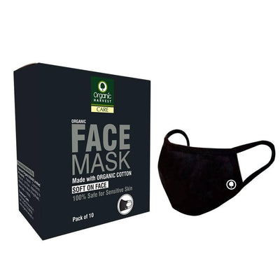Organic Harvest Organic Face Mask, Made with Organic Cotton, , Soft On Face, Anti Pollution, Anti Dust, Breathable, Reusable, Comfortable, Adjustable, 100% Safe for Sensitive Skin, (Pack of 10) - MANERAA