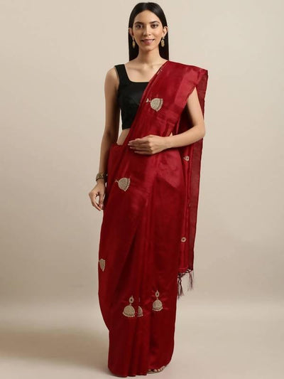 Red Embroidered Poly Georgette Saree - MANERAA