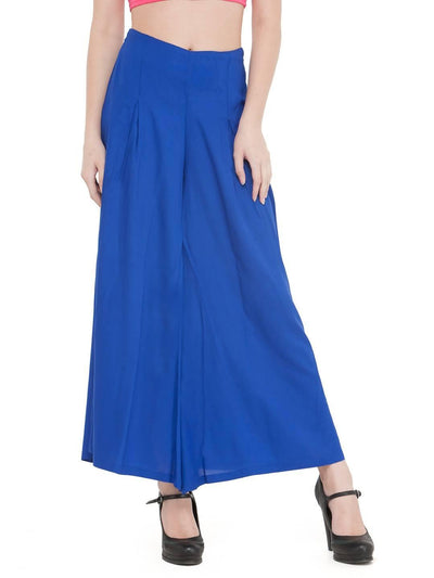 Women Solid Royal Blue Rayon Flared Palazzo - MANERAA