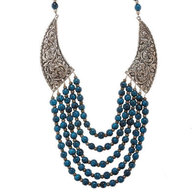 Alloy Necklace Artificial Fashion Jewellery For Women Blue Color - MANERAA
