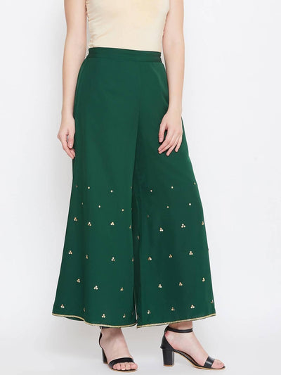 Bitterlime Women's Sequinned Flared Sharara - MANERAA