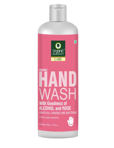 Organic Harvest Hand Wash with Goodness of Alcohol and Rose, Contains Organic Ingredients, Specially formulated to fight Germs on Hands, 500 ml - MANERAA