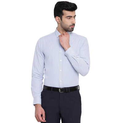 Azure Lines Blue And White Striped Formal Cotton Shirt - MANERAA