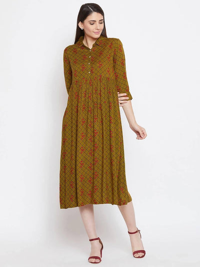 Women Printed Shirt Collar A Line Dress - MANERAA