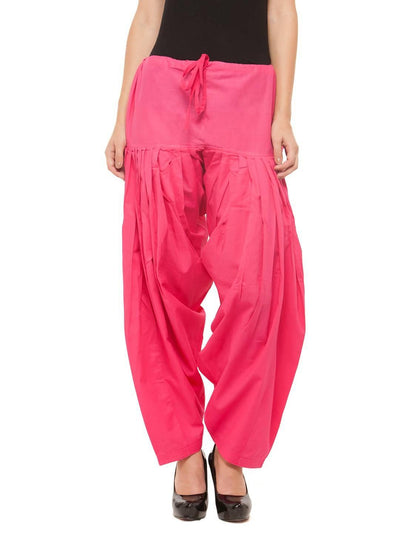 Pink Cotton Solid Patiala - MANERAA