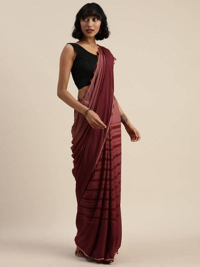 Cocktail Striped metalik jari party wear saree - MANERAA