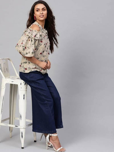 Women's Floral Cold-Shoulder Top With Voluminous Sleeves - MANERAA