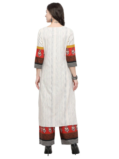 Off White Cotton Printed Kurti - MANERAA