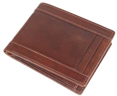 Men Brown Pure Leather RFID Wallet 6 Card Slot 2 Note Compartment - MANERAA