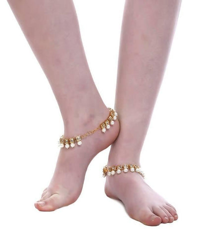 Kundan Anklet Artificial Fashion Jewellery For Women Gold Color - MANERAA