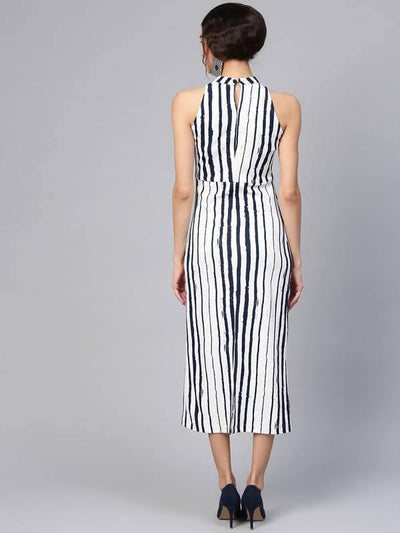 Women's Abstract Stripes Midi Dress - MANERAA