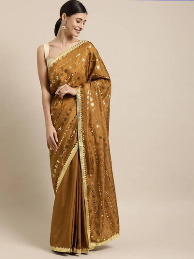 Brown Color Poly Crepe Mirror Work Embellished Saree - MANERAA