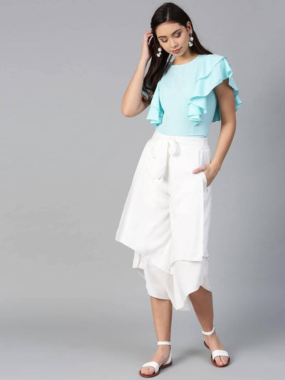Bitterlime Women Blue Princess Ruffle Sleeveless Top & Layered Trouser Set - MANERAA