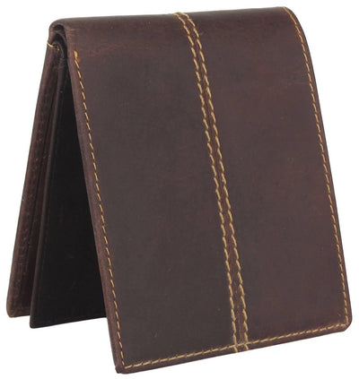 Men Brown Original Leather RFID Wallet 11 Card Slot 2 Note Compartment - MANERAA