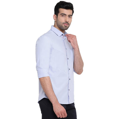 Solid Skew Light Blue Three Paneled Casual Shirt (Size:38) - MANERAA