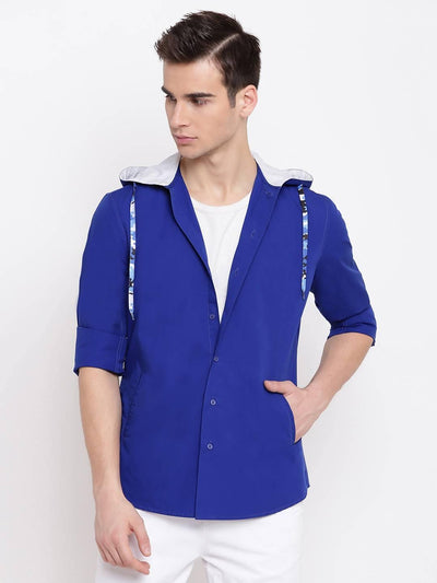 Men's Blue Hooded Regular Fit Cotton Shirt (Size:38) - MANERAA