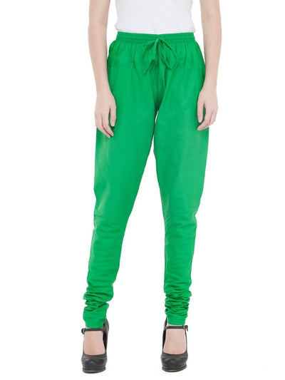 Women Cotton Green Churidar - MANERAA