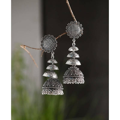 Alloy And Artificial Stones Jhumkas Artificial Fashion Jewellery For Women Silver Color - MANERAA