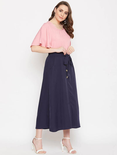 Women's Pleated Neck Top With A-line Skirt Set - MANERAA