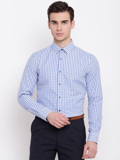 Men's Blue and White Checkered Formal Shirt (Size:38) - MANERAA
