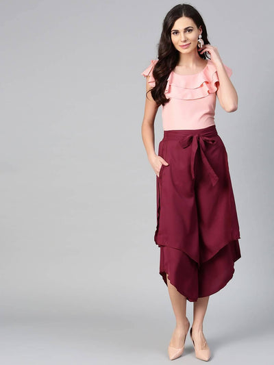 Bitterlime Women Peach Ruffle Sleeveless Top & Layered Trouser Set - MANERAA