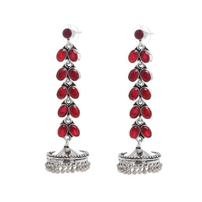 Alloy And Artificial Stones Jhumkas Artificial Fashion Jewellery For Women Red Color - MANERAA