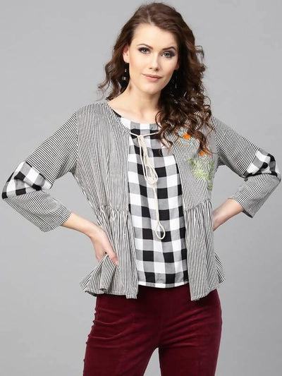 Women's Checkered Top With Striped Embroidered Shrug - MANERAA