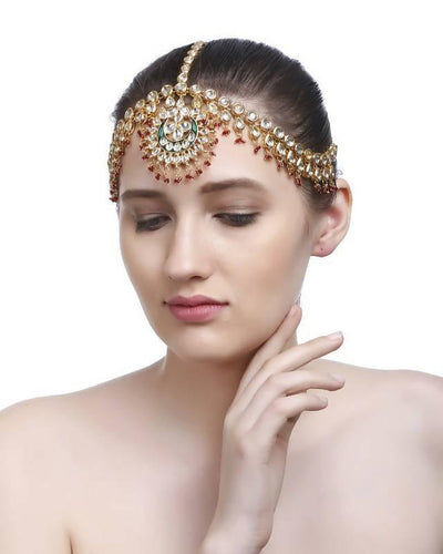 Kundan Maang Tika Artificial Fashion Jewellery For Women Multi Color - MANERAA