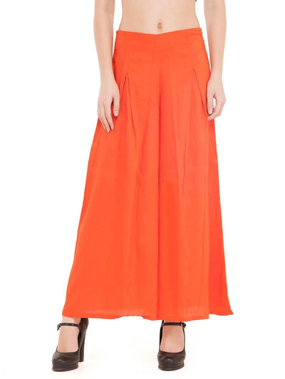 Women Solid Orange Rayon Flared Palazzo - MANERAA