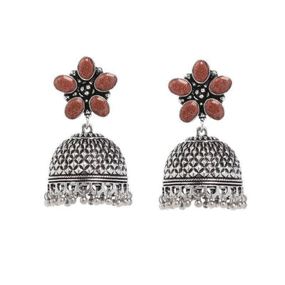 Alloy And Artificial Stones Studs Artificial Fashion Jewellery For Women Brown Color - MANERAA