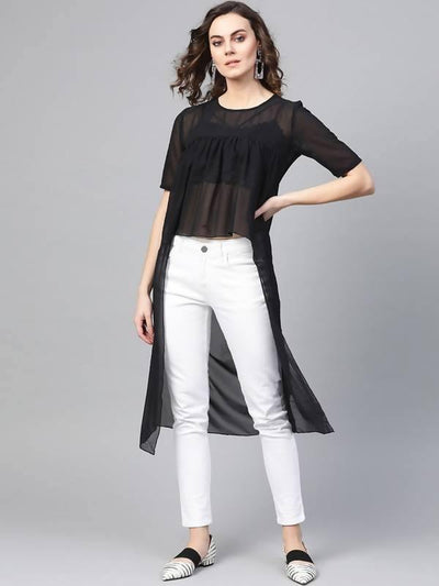 Women's Black Cape Top - MANERAA