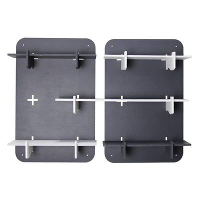 Rectangle Shaped Set of 2 Modular Shelves, Grey - MANERAA