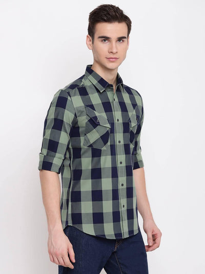 Tartanium Navy & Green Plaid Casual Cotton Shirt (Size:38) - MANERAA