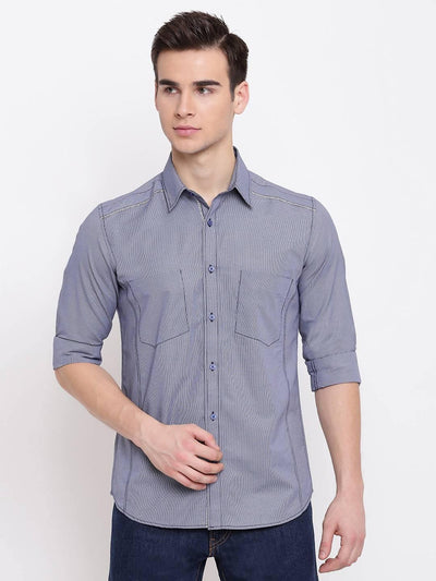 Soothe Up Navy Blue Casual Dobby Shirt (Size:38) - MANERAA