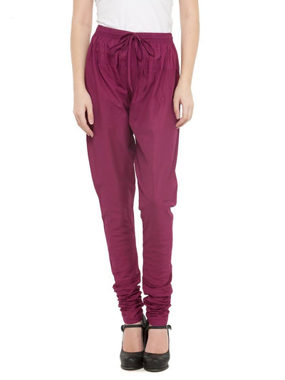Women Cotton Magenta Churidar - MANERAA