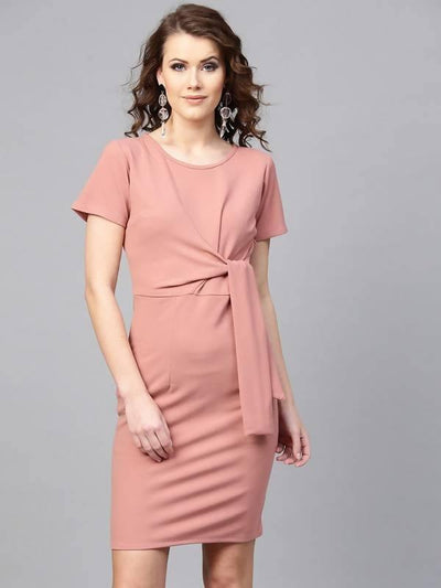Women's Fitted Front Knot Dress - MANERAA