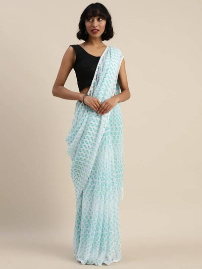 Digital Printed Turquoise Blue Tassle border Georgette Saree - MANERAA