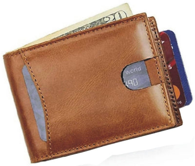 Men Brown Genuine Leather RFID Wallet 5 Card Slot 1 Note Compartment - MANERAA