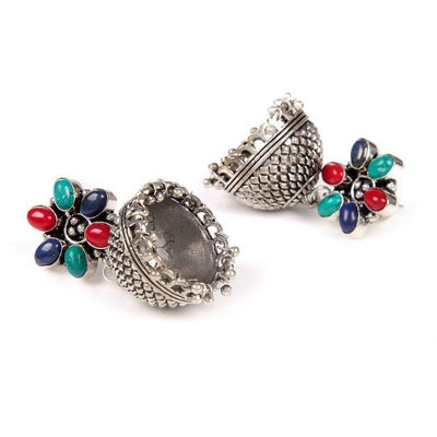 Alloy And Artificial Stones Jhumkas Artificial Fashion Jewellery For Women Multi Color - MANERAA