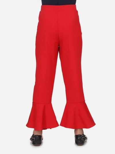 Red full strachable bell bottom - MANERAA