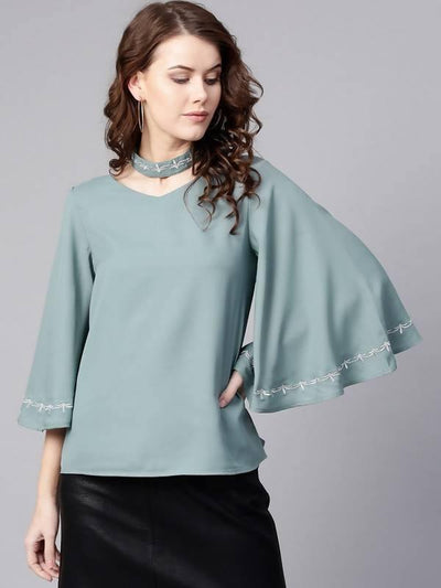 Women's Embroidered Choker Neck Top - MANERAA
